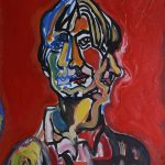 """Autoportret"" 50x60 cm.  olej na płótnie 1997 r. / ""Self- portrait"" olil on canvas"