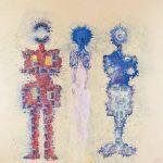 """""""Trzy postacie"""" 200x200 cm. olej + F804 + pole magnetyczne 1994 r. / """"The Figures"""" oil + F804 + magnetic field"""